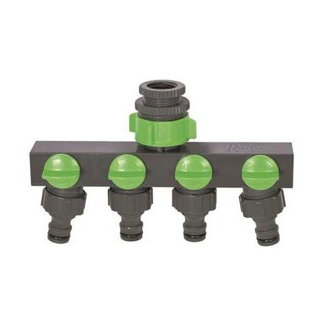 Nez de robinet 4 sorties pour raccord rapide pour tuyau arrosage
