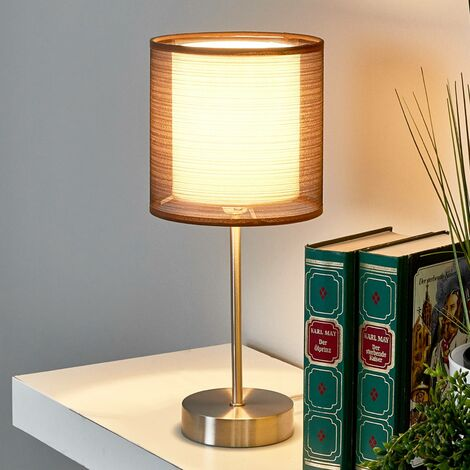 Nica bedside table lamp with brown fabric shade