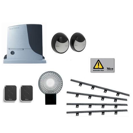 NICE Kit Automatisme de portail coulissant ROBUS 600 + 4m cremaillere + 1 On2E