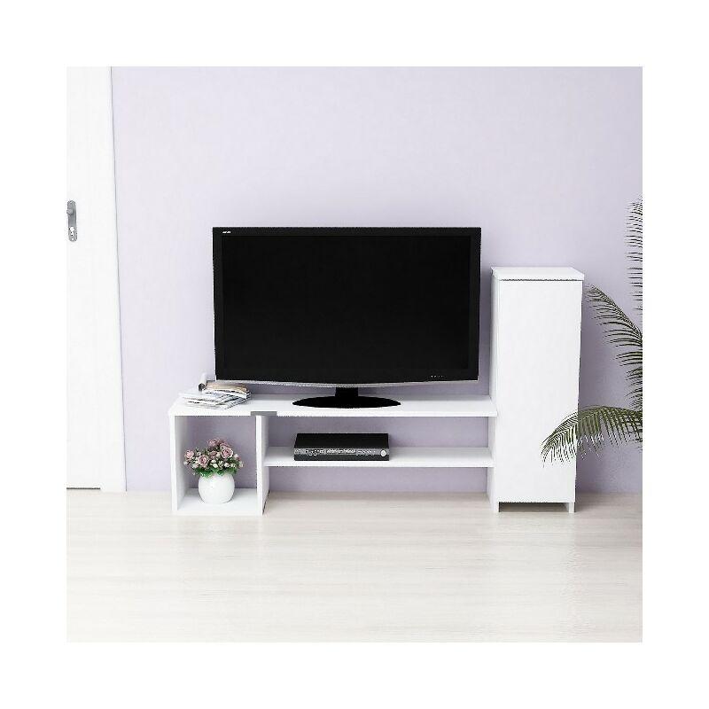 Nice TV-Schrank mit Tueren, Regalen - aus dem Wohnzimmer - Weiss aus Holz, 151 x 29,5 x 90 cm - HOMEMANIA