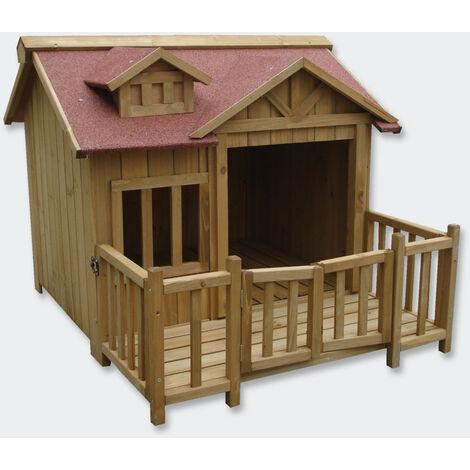 """main image of """"Niche à chien XL maison pour chien bois massif terrasse - Bois"""""""