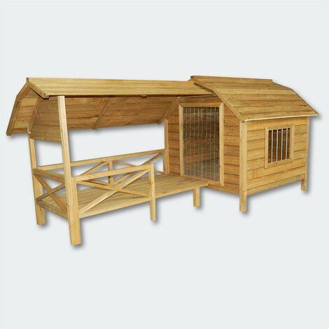 Niche à chien XXL bois massif terrasse et porte en lamelles - Bois