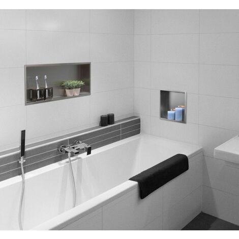 Niche en béton ciré blanc: salle de bains de style par ...