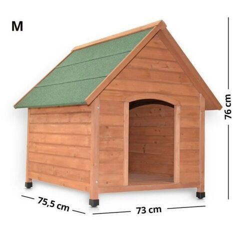 Niche Chien bois massif avec faîtière avec un toit en pente pour l'ouverture Balu M 73 x 75,5 x 76 cm