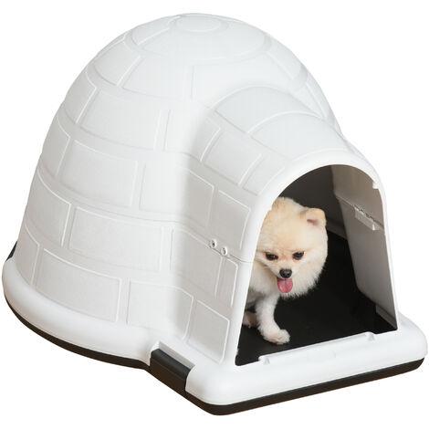 Niche chien niche igloo maison pour chat dim. 80L x 68l x 53H cm polypropylène blanc noir