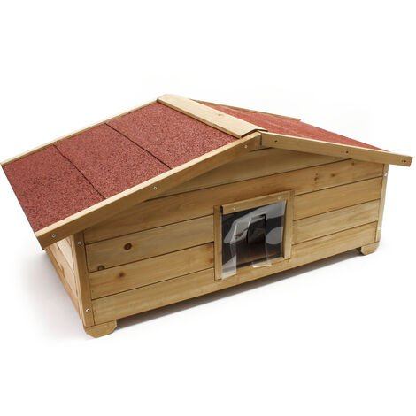 Niche de chat avec Isolation avec Porte Maison pour chat Outdoor Maisonnette de chat pour l'hiver L