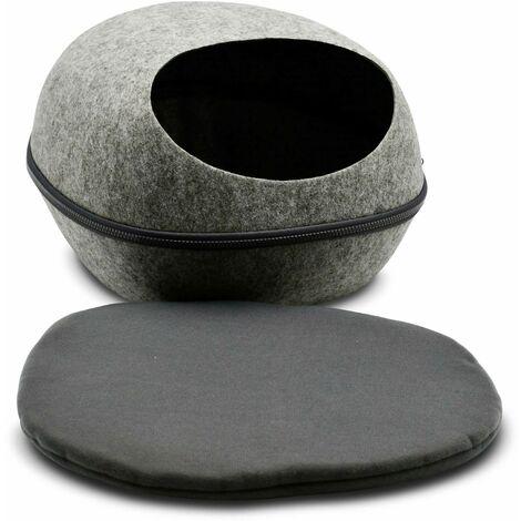 Niche en feutrine en forme de galet, gris, 46x39x26 cm, pour petit chien ou chat, taille S