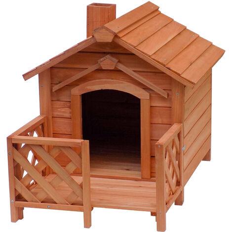 Niche Maison Cabane pour chien Véranda Cheminée en Bois d'épicéa Chien