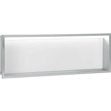 Niche mural, paroi vitree blanche, profondeur 100mm, lxh: 925x325mm avec eclairage LED