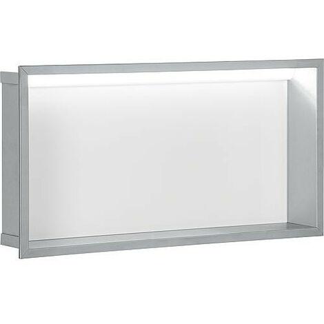 Niche mural, paroi vitree blanche, profondeur 150mm, lxh: 625x325mm avec eclairage LED