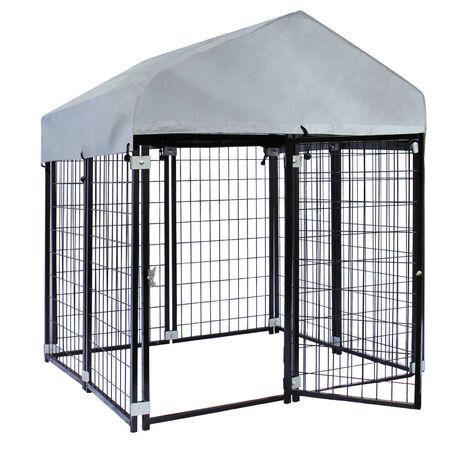 Niche pour chien avec toit 121x121x137cm, niche extérieure en acier
