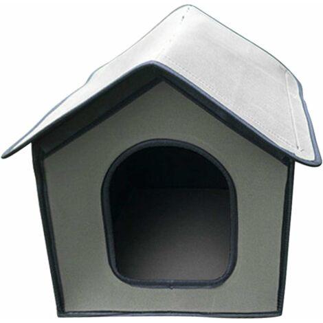 Niche pour Chien Exterieur   Maison pour Chat Étanche   Cabane Chat Exterieur Hiver pour Animaux de Compagnie   Abri Ecologiques Pliable pour Chat/Lapin/Petit Chien(gris)