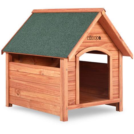 Niche pour chiens avec toit incliné et renforcé - Abri pour chien en bois 82cm