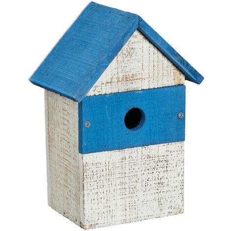 Nichoir à oiseaux déco, H x L x P: 25,5 x 17,5 x 12,5 cm, à suspendre, look simple, jardin, blanc/bleu