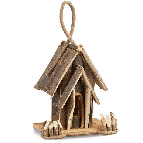 Nichoir à oiseaux décoration maison à oiseaux en bois à suspendre villa fait main balcon, nature