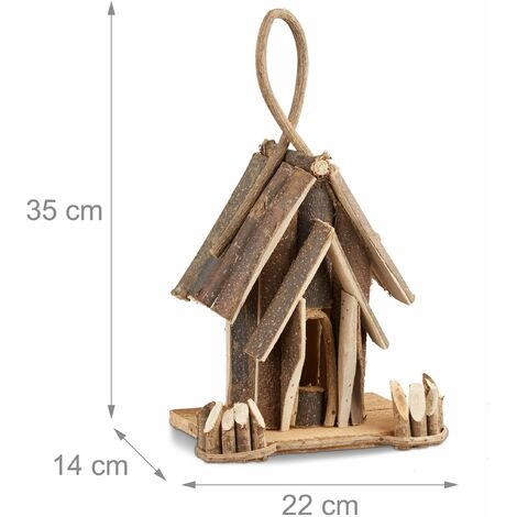 Nichoir à oiseaux décoration maison à oiseaux en bois à suspendre villa fait main balcon nature - Bois