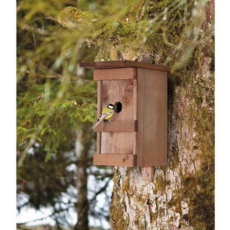 Nichoir à oiseaux en bois massif verni