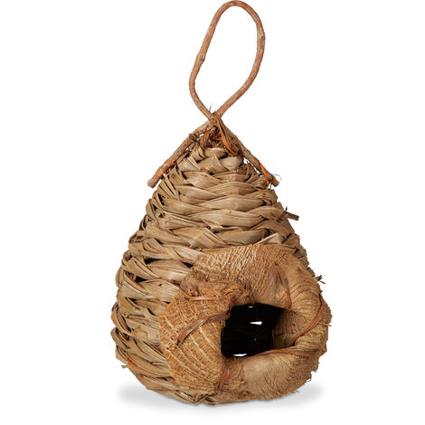 Nichoir à oiseaux exotique cabane pour oiseaux décorative à suspendre maison nid en feuilles cocotier