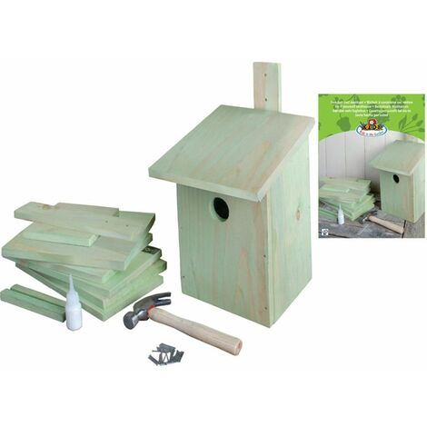 Nichoir décoration extérieur maison d'oiseaux en pinède vert 21,3x17x23,3 cm - or