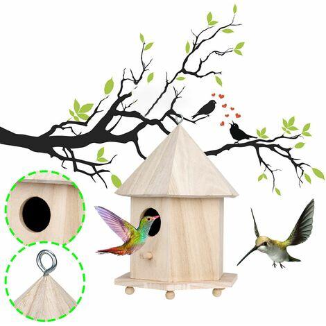 Nichoir en bois pour nichoir à oiseaux nids d'oiseaux suspendus décoration de jardin à la maison A
