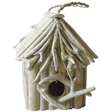 Nichoir maison à oiseaux en teck - BIRDY 02 - Blanc cassé