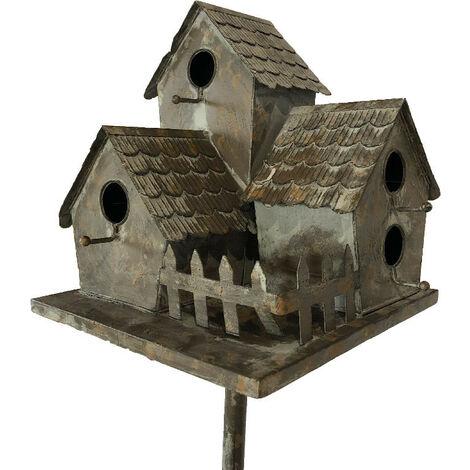 """main image of """"Nichoir oiseaux fer Village 34x31x140cm - Gris"""""""