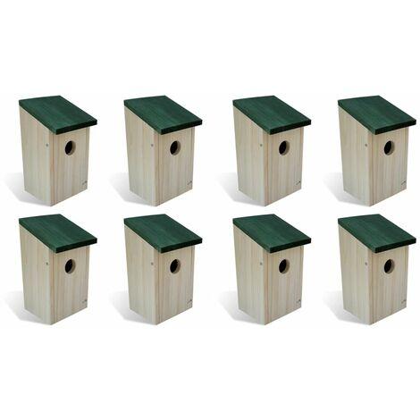 Nichoir oiseaux pour extérieur 8 pièces en Bois 12x12x22 cm - noir