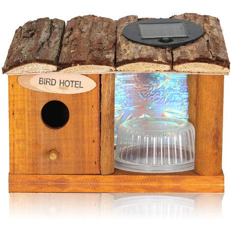 Nichoir pour Oiseaux en Bois - Mangeoire avec Coupelle - 4 LED bleue Solaire