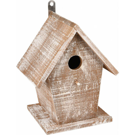 Nichoir pour oiseaux GIO en bois . 19 x 15 x 23 cm. blanc /brun.