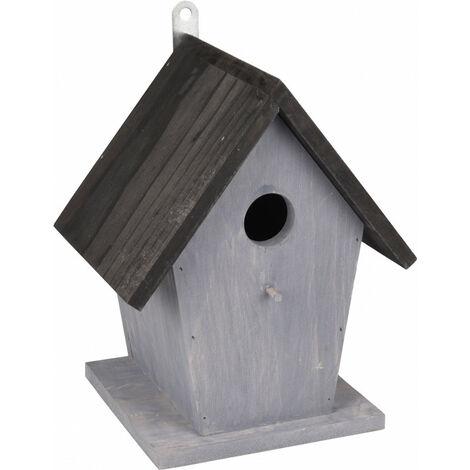 Nichoir pour oiseaux GUUS. 18.5 x 15 x 23 cm. en bois gris / noir.