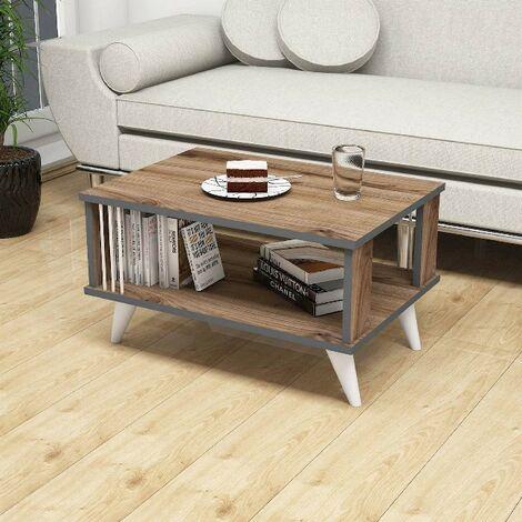 Nicol Kaffeetisch - Inhaber einer Buchzeitschrift - mit Regal - vom Wohnzimmer, Sofa - aus Holz, PVC, 70 x 50 x 40 cm