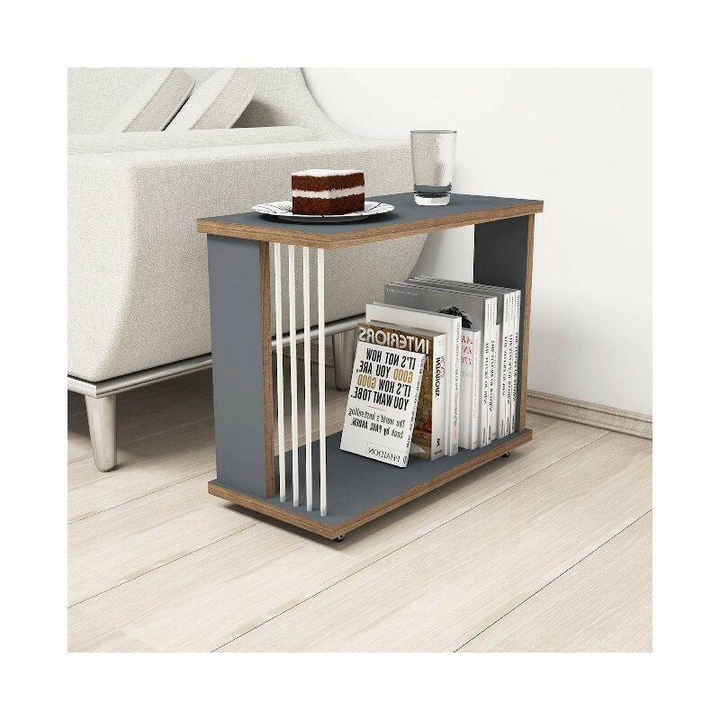 Nicol Kaffeetisch - Inhaber einer Buchzeitschrift - vom Wohnzimmer, Sofa - Anthrazit, Nussbaum, Weiss aus Holz, PVC, 50 x 24 x 42 cm