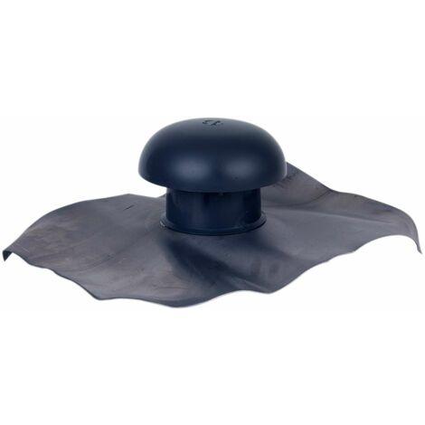Nicoll - Chapeau de ventilation a collerette d etancheite 40x33 ardoise Ø 80