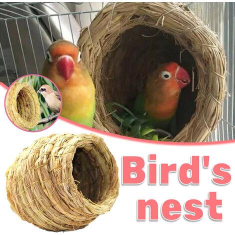 Nid d'herbe fait à la main pour perroquets Nid d'oiseau Boîte d'élevage Peau de tigre Pivoine Nid suspendu chaud Nid d'élevage Wenbird Perle rare