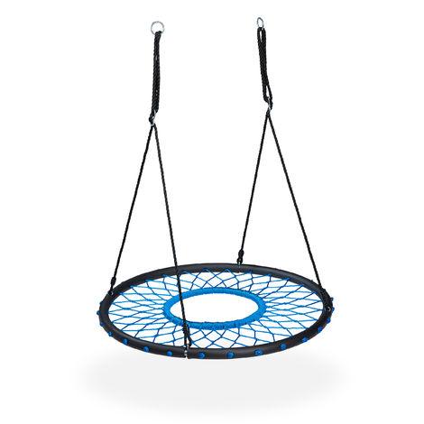 Nid d'oiseau balançoire, pour enfants & adultes, jusqu'à 100 kg, rond, extérieur, Ø 100 cm, noir / bleu