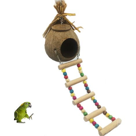 Nid d'oiseau nid de perroquet nid de paille nid d'élevage Cage de coquille de noix de coco naturelle peut garder les animaux de compagnie perroquet Canari Pigeon Hamster