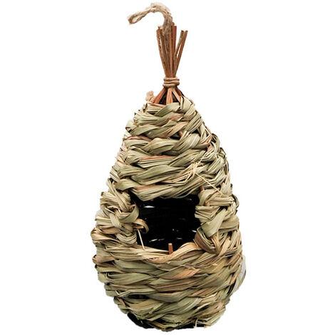 Nid D'Oiseau Tisse A La Main Herbe Birdhouse Exterieur Cabane Oiseau Naturel Suspendu, 1Pc
