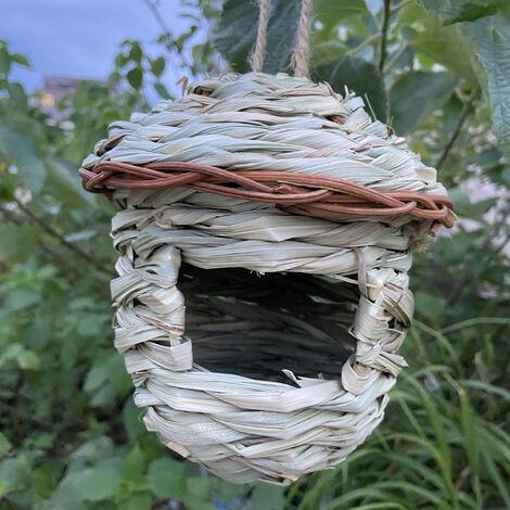 Nid D'Oiseau Tisse A La Main Herbe Birdhouse Exterieur Hanging Naturel Des Oiseaux Hut 1Pc