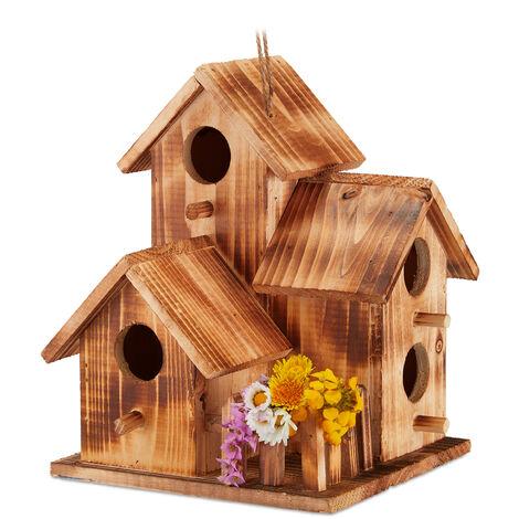 Nid d'oiseaux, à suspendre, balcon, terrasse, jardin, bois brûlé, niche déco, HLP 34x20x19 cm, naturel