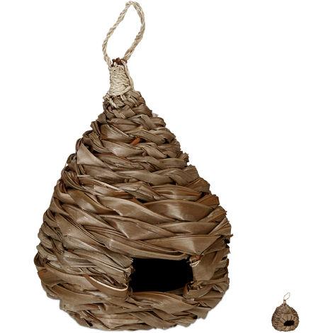 Nido para pájaros, Comedero decorativo, Colgante, Trenzado, Adorno de jardín, 38 x 21 cm, 1 Ud., Marrón