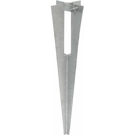NIEDERBERG METALL Piquet en métal galvanisé env 50cm de long avec collier de serrage métallique | idéal pour enfoncer et sécuriser au sol poteaux de clôtures de env Ø34mm | Argenté