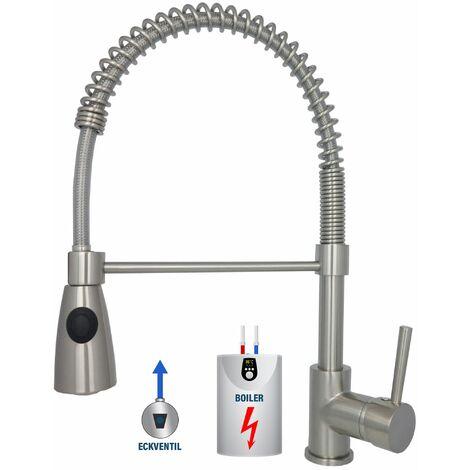 Niederdruck Armatur Edelstahl Küche Brausekopf 2 Funktionen 360° drehbar Küchenarmatur für Boiler Wasserhahn