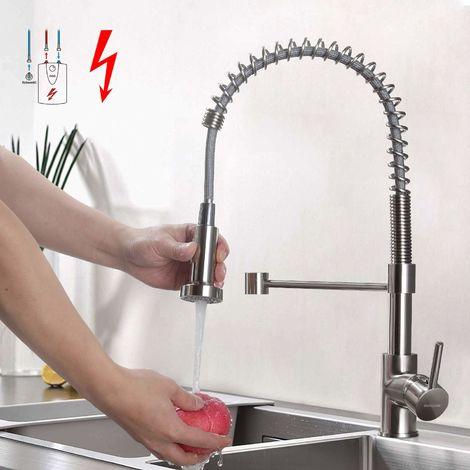 Niederdruck Küchenarmatur Edelstahl Gebürster Wasserhahn Küche, Schwenkbereich 360° Spiralfederhahn, mit Ausziehbarer Brause, Niederdruckarmatur (mit 3 Anschlüssen) für drucklose Boiler