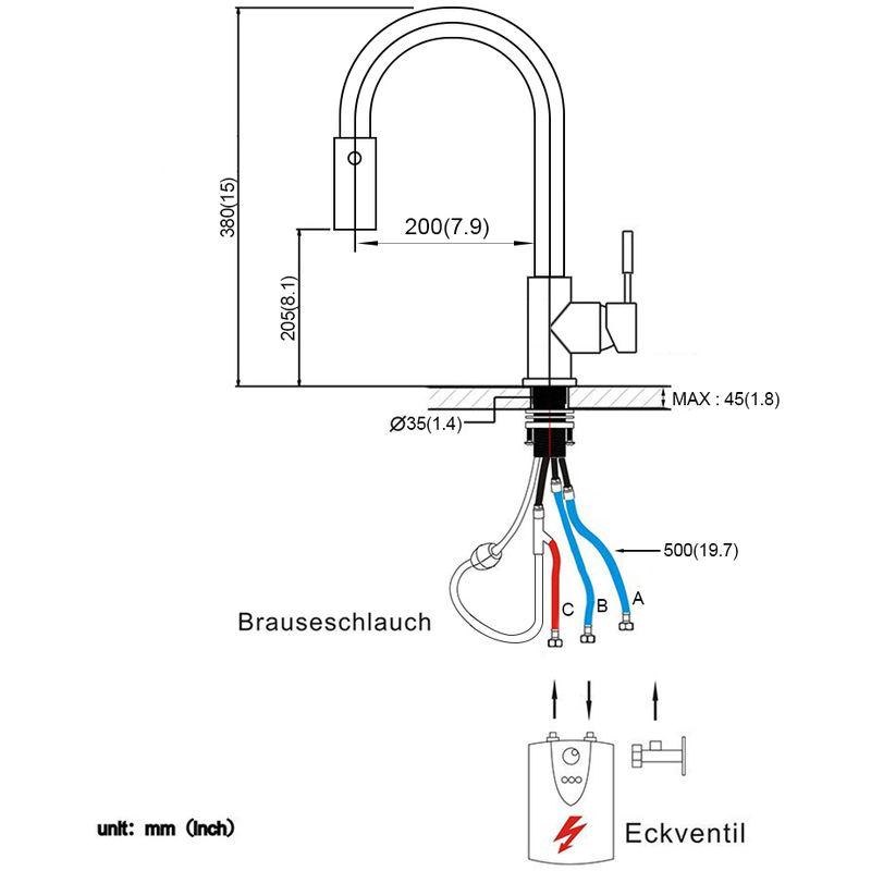 Beliebt Niederdruck Küchenarmatur mit Ausziehbar Brause, BONADE 360 JV01