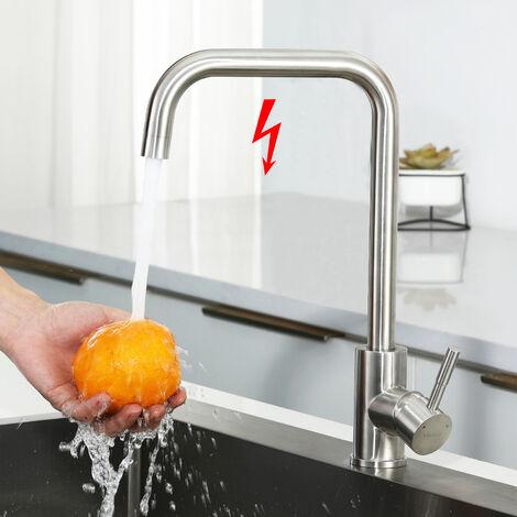 Niederdruck Mischbatterie Küchenwasserhahn | 360° Drehbar Niederdruckarmatur | Küchenarmatur Einhandmischer Armatur | Chrom Spültischarmatur