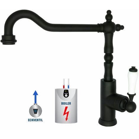 Niederdruck Wasserhahn Schwarz Retro für Boiler Küchenarmatur Nostalgie Einhandmischer Armatur 360° schwenkbar