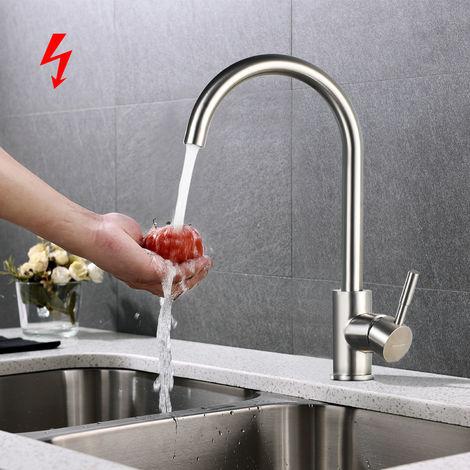 Niederdruckarmatur Wasserhahn 360° Drehbar Niederdruck Küchenarmatur Mischbatterie aus SUS304 Edelstahl Küche Spültisch Armatur Wasserhahn Küche Spülbecken Einhebelmischer inkl. 3 Anschlüsse