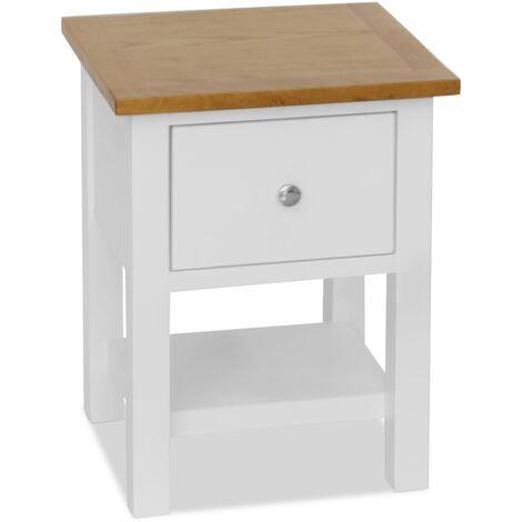 Nightstand 36x30x47 cm Solid Oak Wood - White