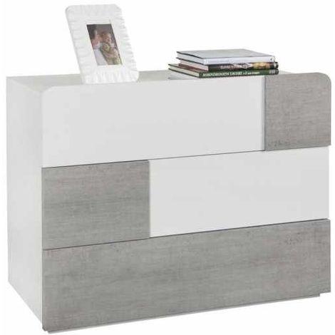 Nightstand Bedside Dresser White Glossy 3 Drawers Cement Effect Modern Design