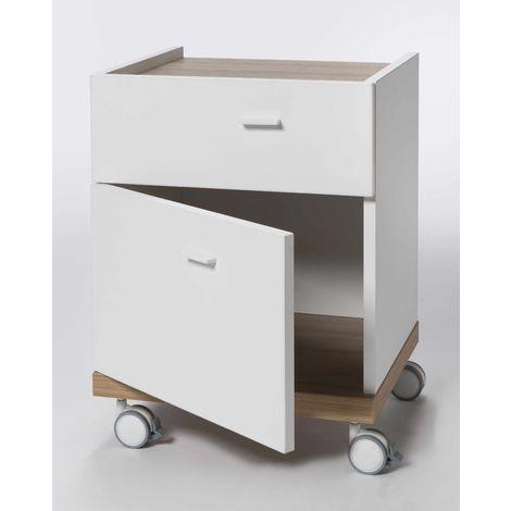 Nightstand Bedside Table Made Of White Wood Drewer Door Castors Modern Design LUDO